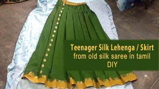 Pattu Lehanga Cutting and Stitching by using old Pattu Saree