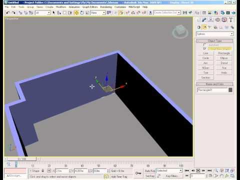 3dsmax - Video tutorial de introdução a modelagem de paredes no 3dsmax 2009. Partindo de retangulos, convertemos para editable spline e depois para editable poly. Int...