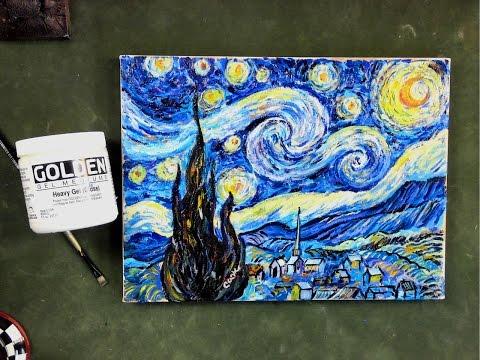 Step by Step Van Gogh's Starry Night using  Impasto Acrylic Mediums Tutorial