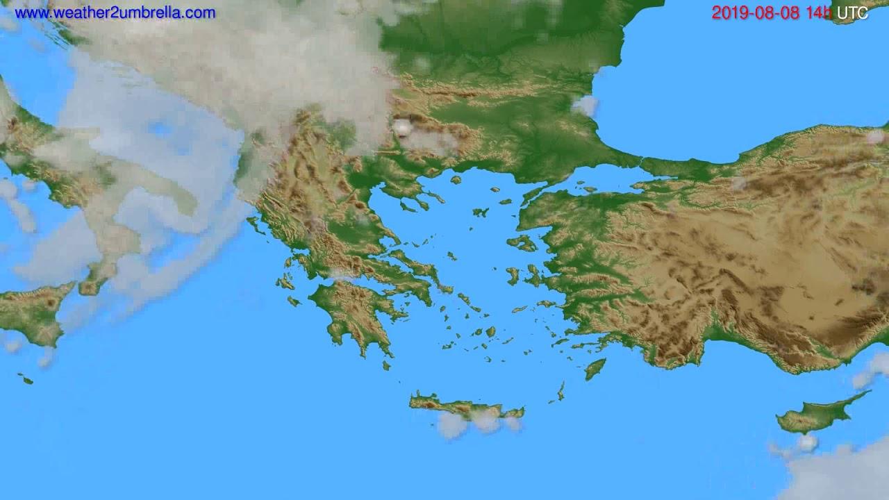 Cloud forecast Greece // modelrun: 12h UTC 2019-08-05