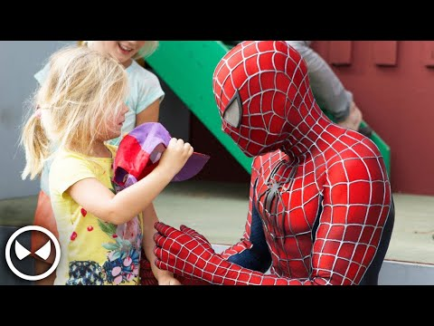 Soldier plays Spider-Man for Charity with 400 Kids - Movie Costume with Muscle Suit