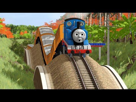 Thomas Melewati Rel Kereta Api Bergelombang
