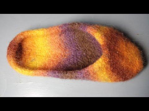 Filz Hausschuhe stricken – Filzpuschen, Filzpantoffel