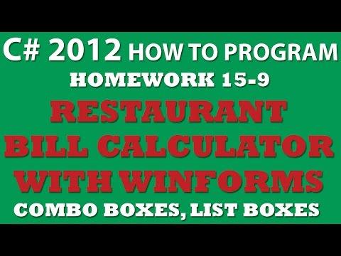 C# Restaurant Bill With Winforms (Ex 15-9)