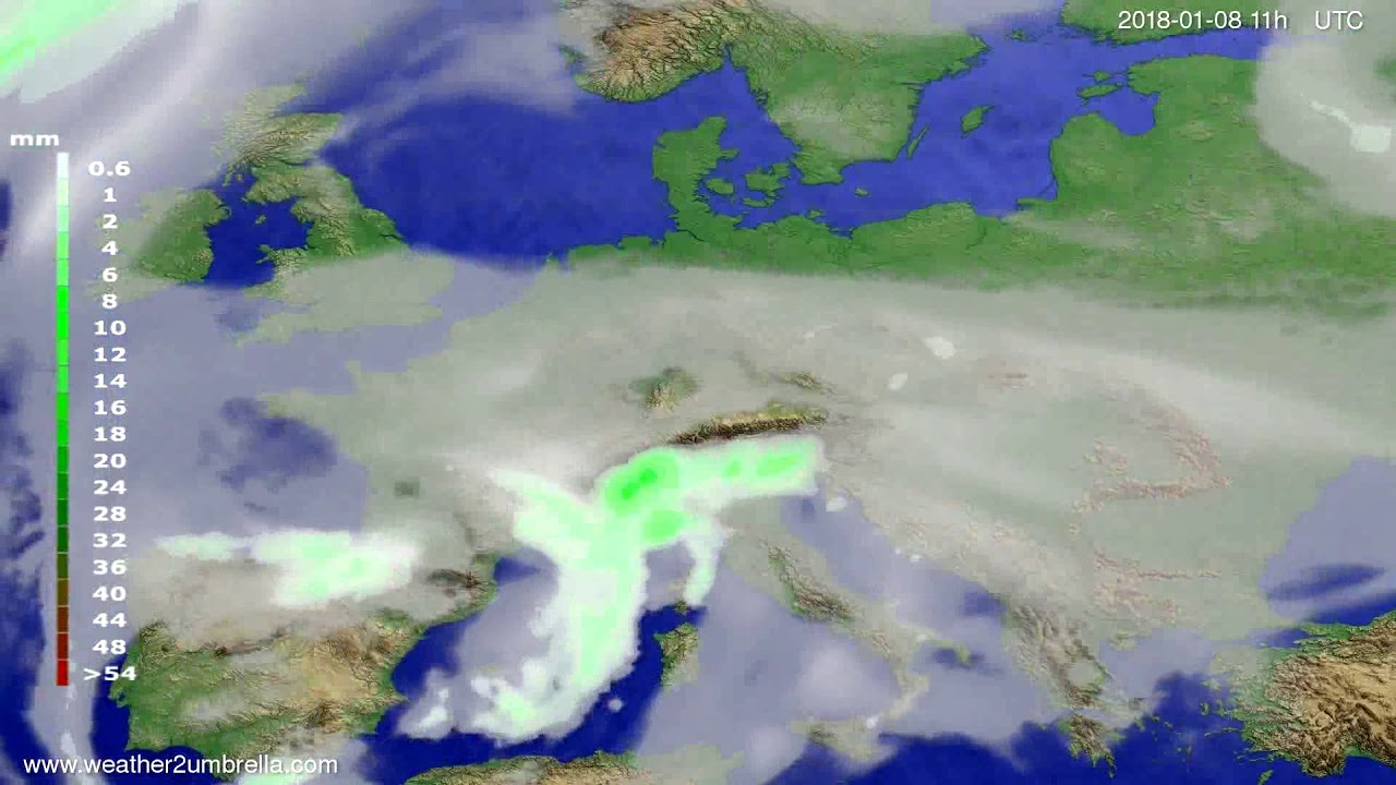 Precipitation forecast Europe 2018-01-05