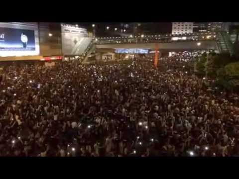second - Crowds upbeat on Harcourt Road, Admiralty, which has been a protest zone for two days. It is close to the government's headquarters. Shot by SCMP News video journalist Gloria Chan. For the...