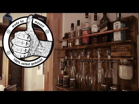 Palettenmöbel Regal Küchenregal Palettenregal Weinregal selber bauen Wine Rack DIY Europalette