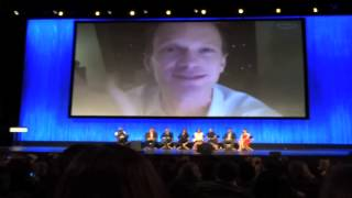 """During the """"How I Met Your Mother"""" panel at PaleyFest 2014, Neil Patrick Harris Skypes in from New York City, where he's performing in """"Hedwig and the Angry Inch"""" on Broadway. He thanks the cast and crew and saying that he has to change clothes, takes off his shirt on camera and continues the rest of his speech shirtless, much to the delight of the audience."""