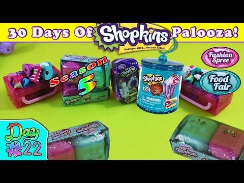 Shopkins Palooza #22 - Season 5 Blind Baskets, Food Fair Candy Jar & Fashion Spree Blind Bags
