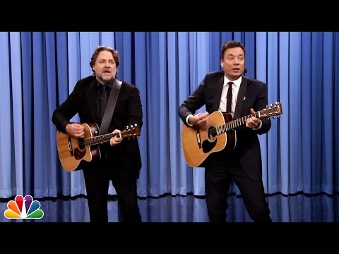 """Jimmy Fallon and Russell Crowe Sing """"Balls in Your Mouth"""""""