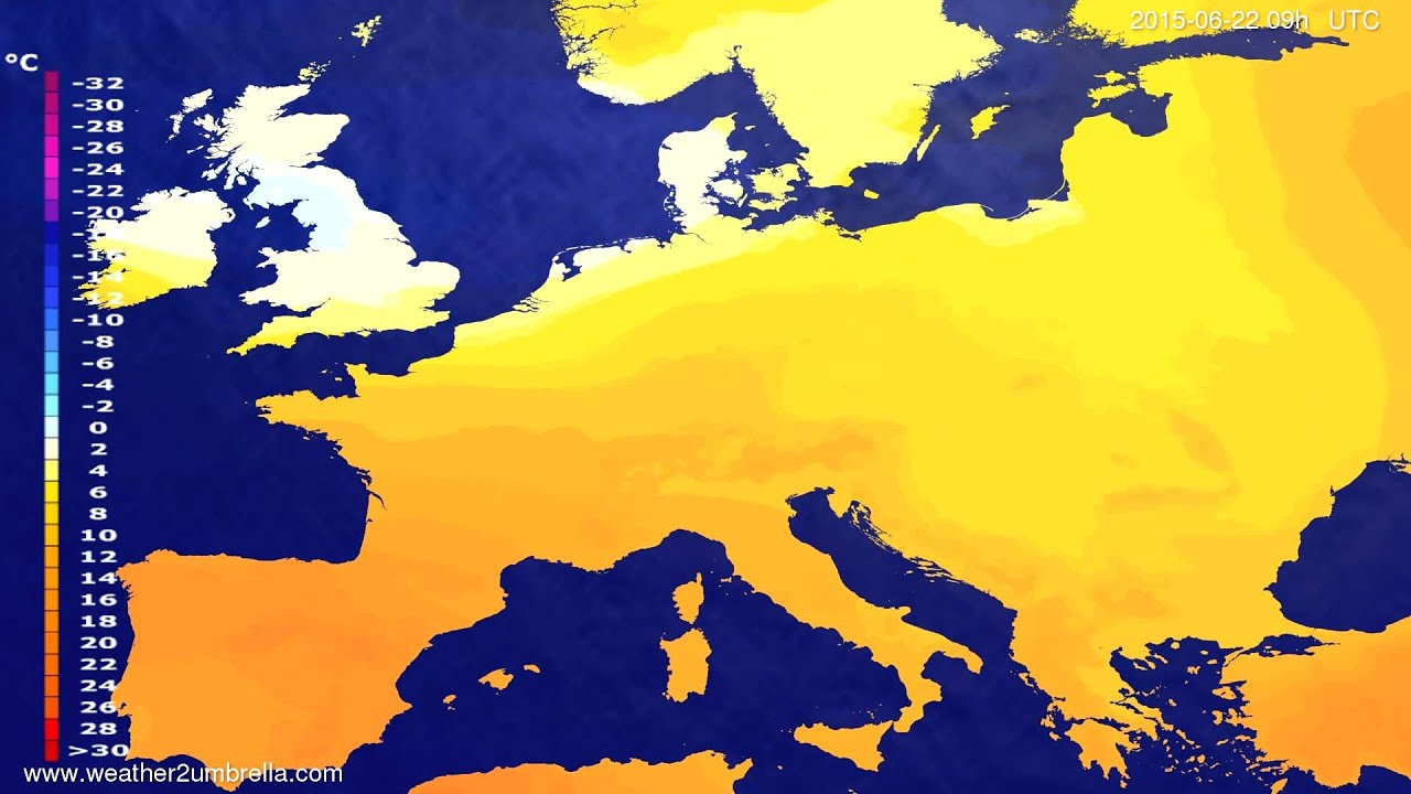 Temperature forecast Europe 2015-06-19