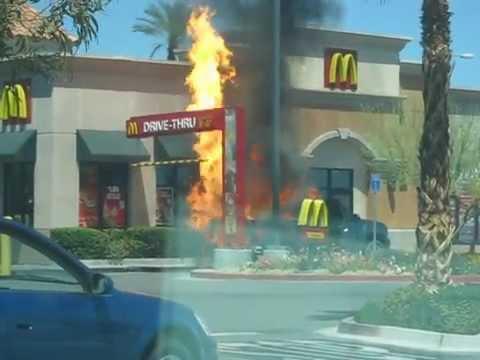 Truck On Fire In McDonalds Drive Thru Goes Boom