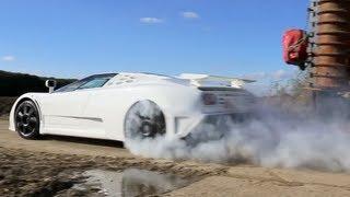 A white Bugatti EB110 Super Sport going hard. A rare close up and onboard footage of the limited edition Bugatti EB110.