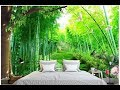 foto Desain Wallpaper  Motif Hutan Bambu Unik Dan Cantik