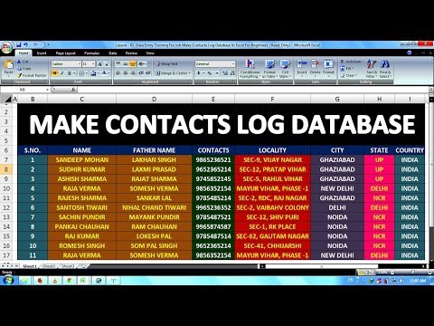 Lesson - 01    Data Entry Training For Job Make Contacts Log Database In Excel For Beginners   