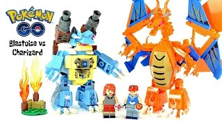 Pokemon Ash Ketchum & Serena Blastoise vs Charizard Mecha Firedragon vs Water Unofficial LEGO Set