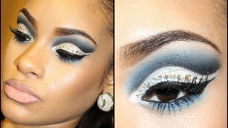 Dramatic Blue & Silver Winged Cut Crease w/ Glitter & Rhinestones A dramatic look that can be used for drag, a costume, or any day if you're like me :) My fa...