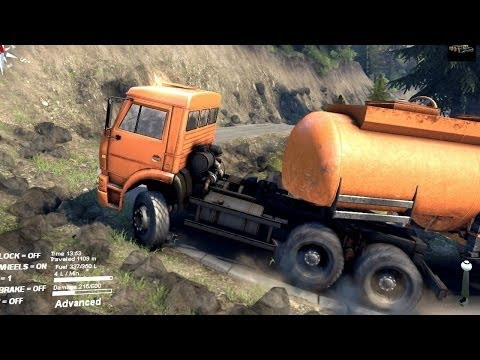 Spintires 2014 kamaz fuel cistern trailer going up hill