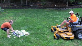 Angry Dad Shreds His Son's Video Games With A Lawn Mower!