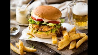Quick, super tasty chicken burger made with crispy, seasoned chicken breast. Loaded with cheese, garlic mayo, AVOCADO, lettuce and tomato. http://www.recipetineats.com/chicken-burger/