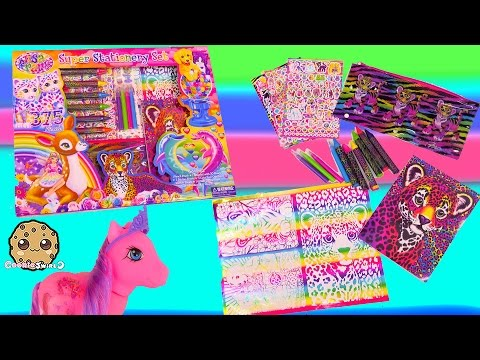 Lisa Frank Rainbow Art Super Stationery Set Unboxing and Tattoos on Little Pony - Cookieswirlc Video