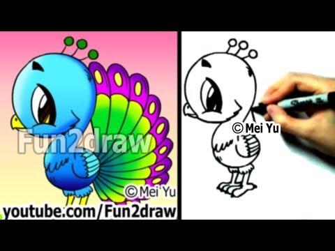 Fun2draw - How to Draw a Cartoon Peacock - Draw Animals - Cute Art