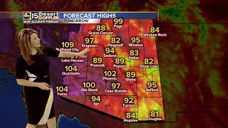 The thunderstorms will bring in cooler weather too. Blowing dust and heavy winds are also possible.