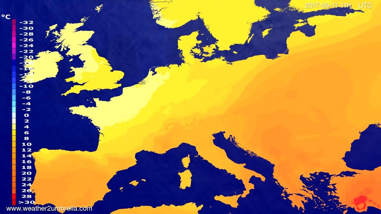 Temperature forecast Europe 2017-09-08
