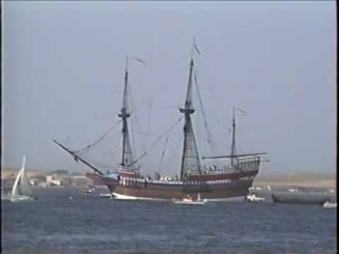 mayflower - http://historyofthepilgrims.com/ Footage of the Mayflower II coming to Provincetown, Cape Cod, in a re-enactment of the Pilgrim's arrival to the New World. A...