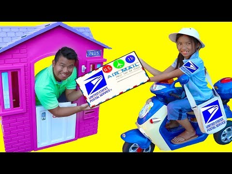 Wendy Pretend Play w/ Post Office Mailbox Kids Dress Up Mail Carrier Costume Toys