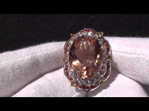 PEACH ORANGE MORGANITE SAPPHIRE 925 SILVER RING