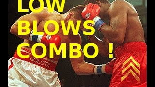 Riddick Bowe vs Andrew Golota IIGolota throws a lot of low blows and rabbit punchs put the last one is very funny in my opinions.Worst low blows ever in boxing