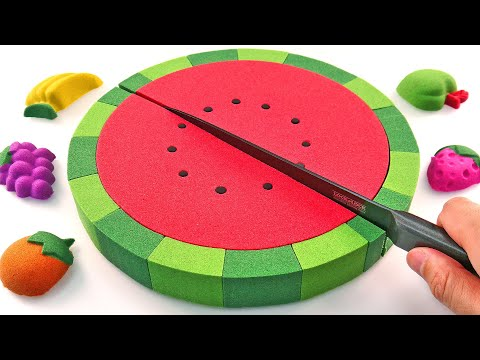 Satisfying Video l How To Make Kinetic Sand Watermelon Cake Cutting ASMR #25 Rainbow ToyTocToc
