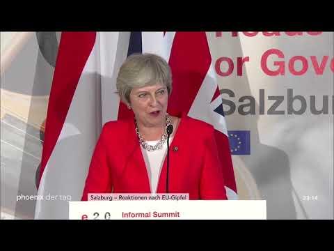 Theresa May zum Abschluss des EU-Gipfels der Staats- und Regierungschefs am 20.09.18