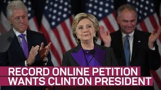 The election isn't technically over yet. A record Change.org petition urges the Electoral College to cast ballots for Clinton over ...