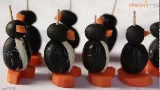 Cómo hacer pingüinos de aceituna y queso