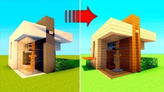 2 Minecraft houses in 1! Wooden and modern minecraft starter house tutorial! survival house (Easy)