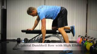 Exercise Index: Unilateral Dumbbell Row with High Elbow