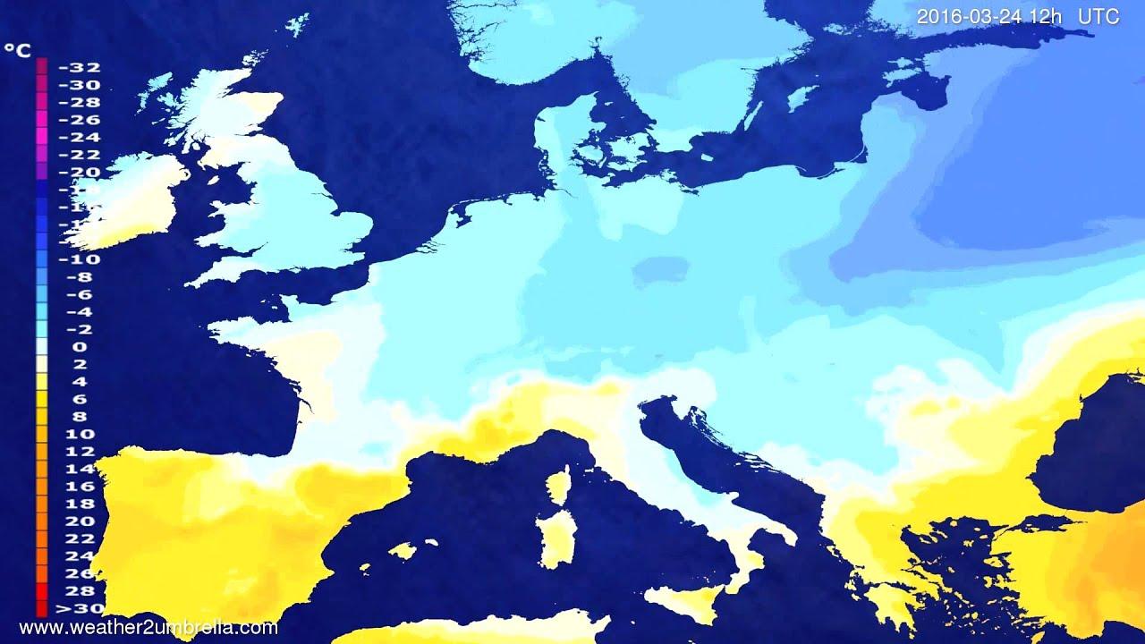 Temperature forecast Europe 2016-03-22