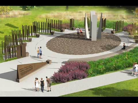 Overhead view of Memorial showing rows of bronze columns radiating from center area.
