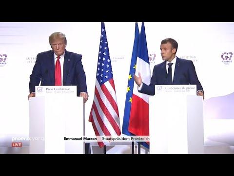 G7-Gipfel: Pressekonferenz mit Emmanuel Macron und Don ...