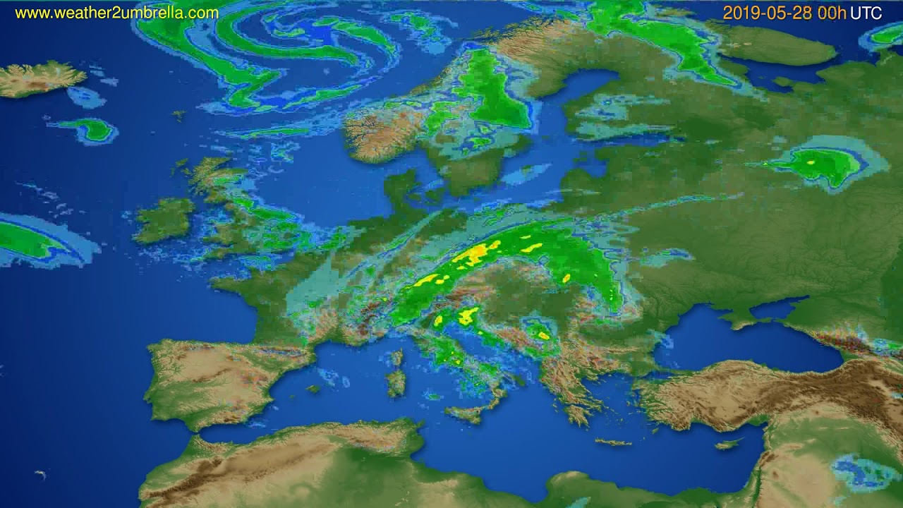 Radar forecast Europe // modelrun: 12h UTC 2019-05-27