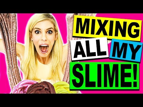 MIXING ALL MY SLIME! (CRUNCHY SLIME, FLUFFY SLIME, OREO SLIME, EDIBLE SLIME)