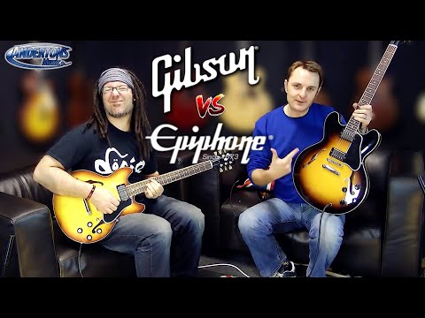 Gibson - Gibson v Epiphone 335 Lee and Rob demo various Gibson and Epiphone 335 Style guitars http://music.andertons.co.uk/search?w=gibson+335&nodet=1#page-1 Rob Chap...