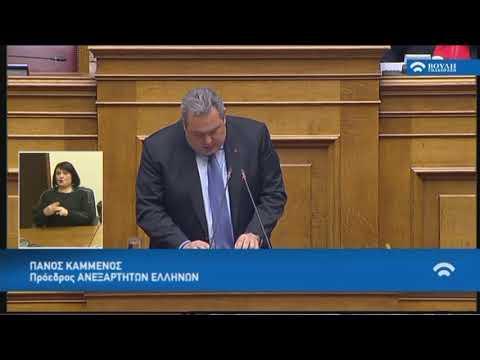 Π.Καμμένος(Πρ.Ανεξ.Ελλήνων)(Προσχώρηση της Δημοκρατίας της Βόρειας Μακεδονίας στο ΝΑΤΟ)(08/02/2019)