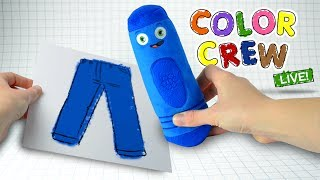 A fun way to #LEARNCOLORS with #ColorCrew, Learn the #colors for kids like the color blue with the Color Crew Live Plush Kids Toys. Your favorite color teaching crayons come to life to show all about the color blue. We see blue colors everywhere. The Color Crew Kids Toys help your children discover new colors by coloring familiar objects. Watch as the color blue is colored over a pair of pants right before your eyes! Whoever knew that learning colors could be this much fun! For everything about learning colors, be sure to subscribe today to never miss an episode of the Color Crew. Thanks for watching!Subscribe to the BabyFirst TV Youtube Channel for more children's shows and cartoons for kids:http://www.youtube.com/user/BabyFirstTV?sub_confirmation=1Hope you enjoyed this episode on BabyFirstTV!For more videos for toddlers click here: http://www.youtube.com/user/BabyFirstTV?sub_confirmation=1About BabyFirst TVOn BabyFirst TV, your baby can learn everything under the sun,  from ABC to Animals, colors to shapes, and so much more! Our programming  is among the best at helping children learn education basics before entering the school environment. Here we house one of the internet's largest collections of educational resources, nursery rhymes for children, and cartoons for your baby. Check out some of our favorite programming, including the Color Crew, Harry the Bunny, Rainbow Horse, Vocabularry, Notekins and more! Our content is intended help grow with your child. Enjoy our huge collection of nursery rhymes for your children, that you and baby can sing together. From teaching your baby color recognition, to helping your child learn socialization with toddler games, BabyFirst TV, will be here. Make sure to subscribe to check out the latest from BabyFirst TV!