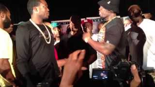 Confrontation between 50 cent and Trav  former G-Unit Member.