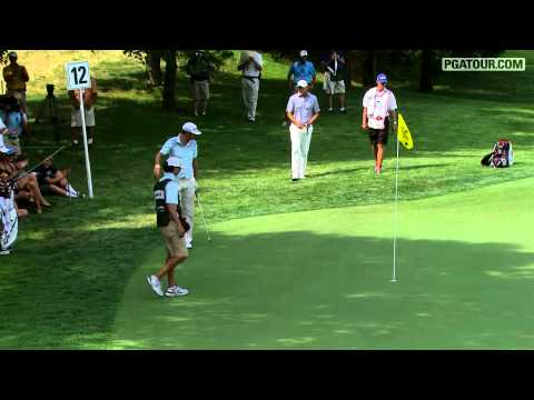 Dustin Johnson chips in for Eagle at the 2012 Greenbrier Classic