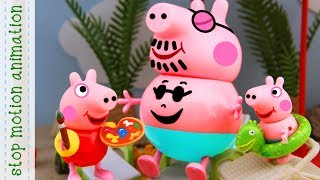 Fun on the beach. Peppa Pig toys. Stop motion animation. New episodes 2018