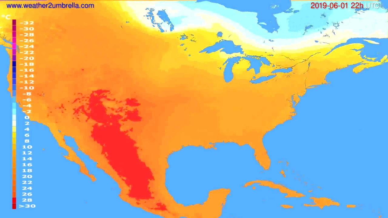 Temperature forecast USA & Canada // modelrun: 00h UTC 2019-05-30